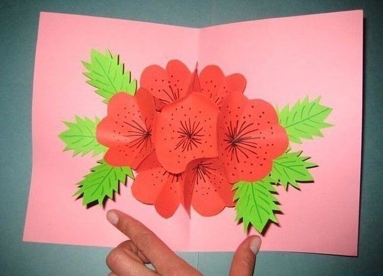 Поделка открытка с объемным цветком, картинки